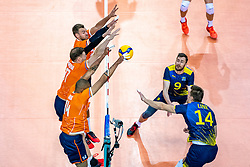 Gijs Jorna of Netherlands, Michael Parkinson of Netherlands, Nimir Abdelaziz of Netherlands, Jacob Link of Sweden in action during the CEV Eurovolley 2021 Qualifiers between Sweden and Netherlands at Topsporthall Omnisport on May 14, 2021 in Apeldoorn, Netherlands