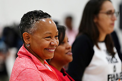 July 26, 2018 - Minneapolis, MN, USA - WNBA league president Lisa Michelle Borders watched from the sidelines at the start of the clinic. ] ANTHONY SOUFFLE • anthony.souffle@startribune.com ....WNBA All-Star Game players held a clinic with girls from local community organizations Thursday, July 26, 2018 at the Mayo Clinic Square in Minneapolis. (Credit Image: © Anthony Souffle/Minneapolis Star Tribune via ZUMA Wire)