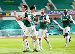 Hibernian's John McGinn cele scoring their third goal. <br /> Hibernian 3 v 0 Alloa Athletic, Scottish Championship game played 12/9/2015 at Easter Road.