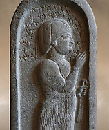 Neo Hittite basalt funerary stele from Neirab or Tell Afis, Syria, 7th cent BC. Louvre Museum