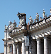 Sculptural detail from St. Peter's Basilica in the Vatican City, Italy. The church is the most renowned work of Renaissance architecture, and was designed by Donato Bramante, Michelangelo, Carlo Maderno and Gian Lorenzo Bernini.