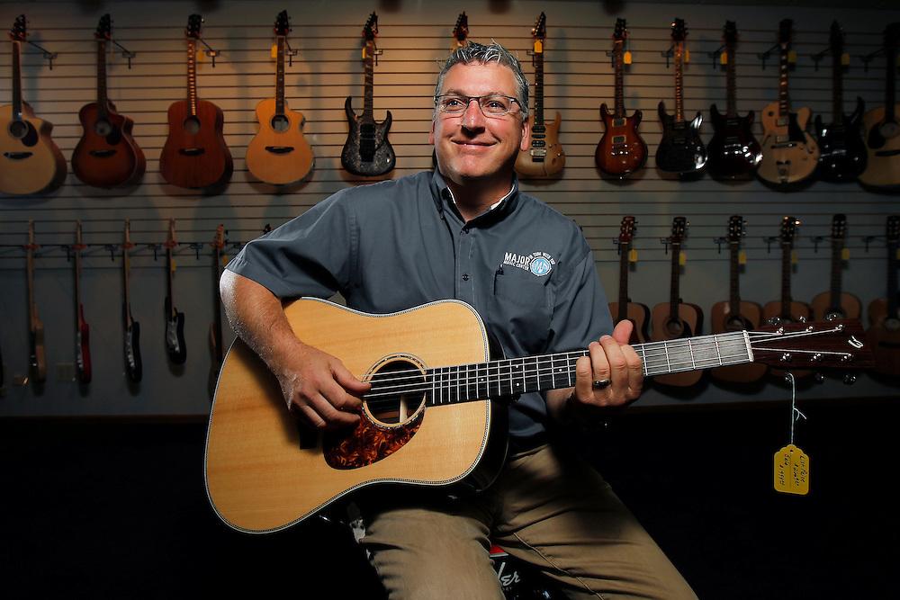 Randy Mendyk, owner of Major Music Center in downtown Hastings. (Independent/Matt Dixon)