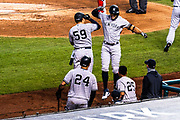 New York Yankees outfielder Giancarlo Stanton celebrates a home run against the Washington Nationals at Nationals Park on July 26, 2020. With an exit velocity of 121.3 mph, it is the second-hardest hit home run to date.