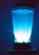 A WIntergreen Lifesavers are placed in a blender to show the property of triboluminescence. Triboluminescence is an optical phenomenon in which light is generated when asymmetrical crystalline bonds in a material are broken when that material is scratched, crushed, or rubbed.