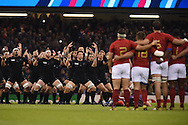 The All Blacks perform their Haka.Rugby World Cup 2015 quarter-final match, New Zealand v France at the Millennium Stadium in Cardiff, South Wales  on Saturday 17th October 2015.<br /> pic by  Andrew Orchard, Andrew Orchard sports photography.