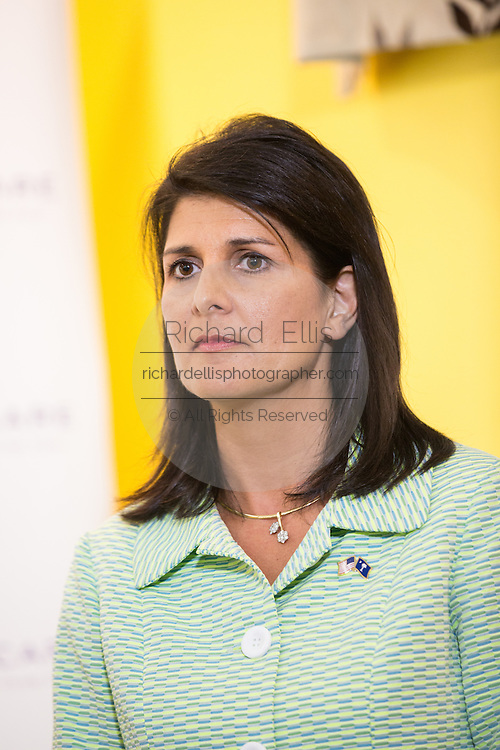 South Carolina Governor Nikki Haley during a visit to Sistercare March 17 29, 2015 in Columbia, South Carolina. Bush joined Haley in visiting the center for victims of domestic violence.