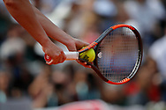 Roland Garros ball illustration above racket of Simona HALEP (ROU) at service during the Roland Garros French Tennis Open 2018, Final Women, on June 9, 2018, at the Roland Garros Stadium in Paris, France - Photo Stephane Allaman / ProSportsImages / DPPI