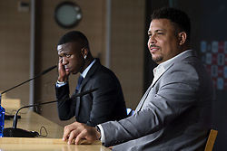 July 20, 2018 - Madrid, Spain - Ronaldo and Vinicius Jr during press conference of his presentation as new Real Madrid player at Santiago Bernabéu Stadium in Madrid, Spain. July 20, 2018. (COOLMEDIA/BorjaB.Hojas) (Credit Image: © Coolmedia/NurPhoto via ZUMA Press)