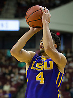 LSU guard Skylar Mays (4) shoots a three point basket against Texas A&M during the second half of an NCAA college basketball game Saturday, Jan. 6, 2018, in College Station, Texas. (AP Photo/Sam Craft)