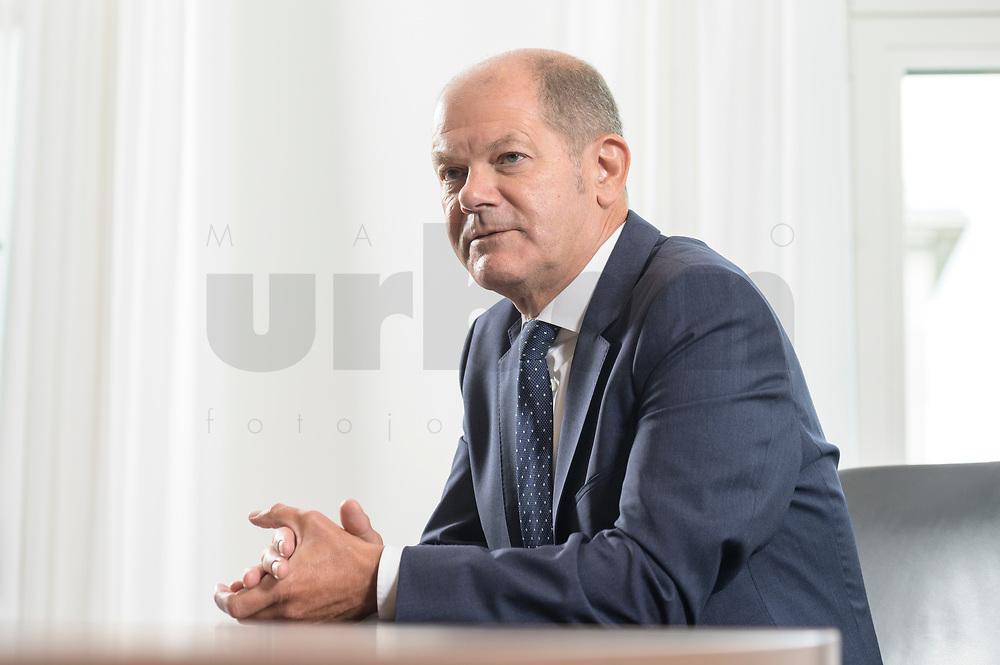 28 AUG 2020, BERLIN/GERMANY:<br /> Olaf Scholz, SPD, Bundesfinanzminister, waehrend einem Interview, Bundesministerium der Finanzen<br /> IMAGE: 20200828-01-038
