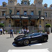 General view of a Ferrari outside the Casino de Monte-Carlo in Monaco.