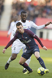 Giovani Lo Celso of Paris Saint-Germain in action with Armand Aholou of RC Strasbourg during the Ligue 1 match between Paris Saint Germain and RC Strasbourg at the Parc des Princes in Paris, FRANCE on February 17, 2018.Paris Saint Germain won RC Strasbourg with 5-2 (Credit Image: © Jack Chan/Chine Nouvelle/Xinhua via ZUMA Wire)