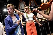 Open repetitie HAIR in de studio van Stage Entertainment.<br /> <br /> op de foto:  Jeffrey Italiaander en Jindra van Schaijk