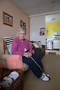 Mary Wede, resident at 269 Leigham Court Road sheltered housing for 14 years, on 2nd June 2016 in South London, United Kingdom. 269 Leigham Court Road was designed by architect Kate Macintosh, and is brutalist in design. In May 2015, residents campaigned to Historic England and the building was awarded Grade II listing. In June 2016, the council announced plans to regenerate the estate, rather than rebuild.