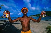 Local man with Piton Beers, Cas en Blas Beach (Atlantic side), St. Lucia