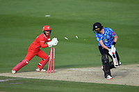 Cricket - 2020 T20 Vitality Blast - Quarter-final - Sussex Sharks vs Lancashire Lightning - County Ground, Hove<br /> <br /> Ollie Robinson of Sussex Sharks stumped by Alex Davies off the bowling of Matt Parkinson of Lancashire Lightning for 0.<br /> <br /> COLORSPORT/ASHLEY WESTERN