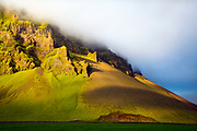 Icelandic mountain at the golden hour, in South Iceland