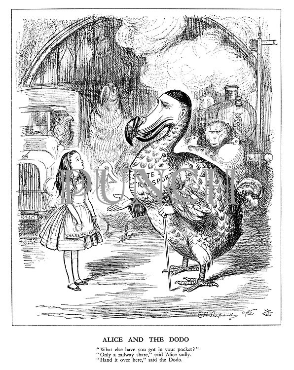 """Alice and the Dodo. """"What else have you got in your pocket?"""" """"Only a railway share,"""" said Alice sadly. """"Hand it over here,"""" said the dodo."""