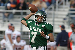 22 October 2005: Titan QB Tom Kudyba cocks to fire. The Illinois Wesleyan Titans posted a 23 - 14 home win by squeeking past the Thunder of Wheaton College at Wilder Field (the 5th oldest collegiate field in the US) on the campus of Illinois Wesleyan University in Bloomington IL