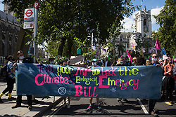 Climate activists from Extinction Rebellion hold a banner calling for support for the Climate and Ecological Emergency Bill (CEE Bill) during a Back The Bill rally in Parliament Square on 1st September 2020 in London, United Kingdom. Extinction Rebellion activists are attending a series of September Rebellion protests around the UK to call on politicians to back the CEE Bill which requires, among other measures, a serious plan to deal with the UK's share of emissions and to halt critical rises in global temperatures and for ordinary people to be involved in future environmental planning by means of a Citizens' Assembly.