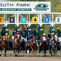 (PPAGE1) Oceanport 5/14/2005 The start of the first race of the season at Monmouth Park.   Michael J. Treola Staff Photographer....MJT