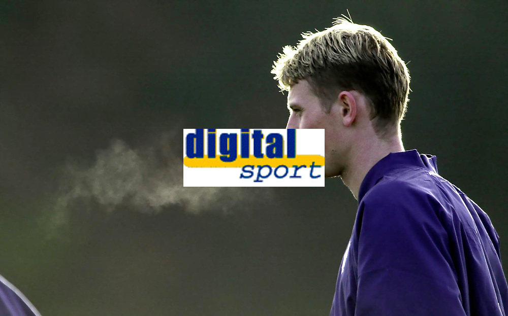 Tore Andre Flo signs for Rangers and traisn with squad for first time.<br />Pic Ian Stewart, November 23rd. 2000.<br />Torre Andre Flo breathes out into the cool morning air as he trains with his new team mates this morning. (Photo:Ian Stewart , Digitalsport