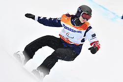 HUCKABY Brenna USA competing in ParaSnowboard, Snowboard Banked Slalom at  the PyeongChang2018 Winter Paralympic Games, South Korea.