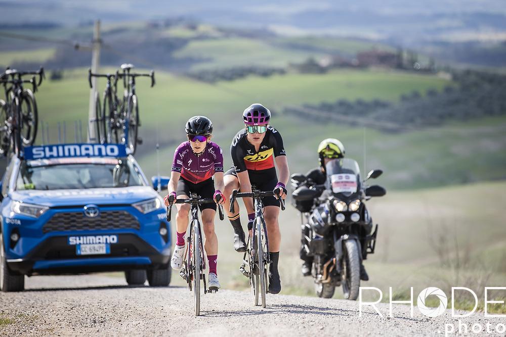 Belgian National Champion Lotte Kopecky (BEL/Liv Racing) and Niamh Fisher-Black (AUS/SDWorx) in a breakaway attempt.<br /> <br /> 7th Strade Bianche Women Elite <br /> Siena > Siena 136km<br /> <br /> ©RhodePhoto