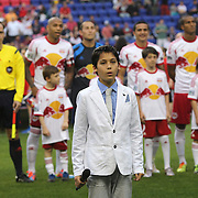 Tim Cahill's son, 11-year-old aspiring artist Kyah Cahill, prepares to sing the US national anthem at Red Bull Arena before the New York Red Bulls Vs Chicago Fire, Major League Soccer regular season match at Red Bull Arena, Harrison, New Jersey. USA. 10th May 2014. Photo Tim Clayton