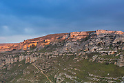 Landscape view of caves on the opposite side of Sassi di Matera