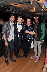 Left to right, LIAM TAMNE, JORDAN LEE DAVIES, SAM BUTTERY and MATT HENRY at West End Eurovision 2013 held at the  Dominion Theatre, London on 23rd May 2013.