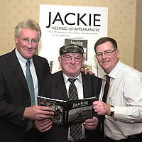 Killarney press photographer Don MacMonagle, right,  pictured at the launch of his photographic book on Jackie Healy-Rae TD in Killarney on Friday with former Kerry footballer Pat Spillane who launch the book. Entitled, 'Jackie-Keeping Up Appearances' the book contains over 100 colour photographs of the deputy taken during 1997-2002 recording his five years as an independent.<br />