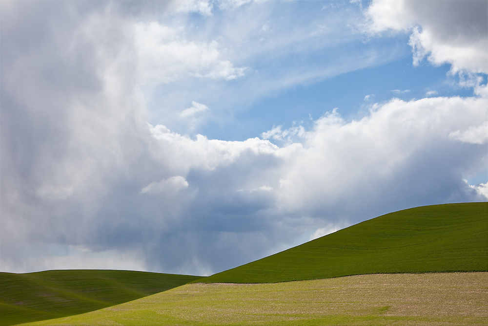 Limited Editions of 17<br /> Crop Patterns on the Palouse of Washington State next to the Snake River Palouse Section with dramatic clouds