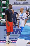 DESCRIZIONE : Campionato 2014/15 Dinamo Banco di Sardegna Sassari - Olimpia EA7 Emporio Armani Milano Playoff Semifinale Gara3<br /> GIOCATORE : Frank Elegar David Logan<br /> CATEGORIA : Fair Play Before Pregame<br /> SQUADRA : Olimpia EA7 Emporio Armani Milano<br /> EVENTO : LegaBasket Serie A Beko 2014/2015 Playoff Semifinale Gara3<br /> GARA : Dinamo Banco di Sardegna Sassari - Olimpia EA7 Emporio Armani Milano Gara4<br /> DATA : 02/06/2015<br /> SPORT : Pallacanestro <br /> AUTORE : Agenzia Ciamillo-Castoria/L.Canu
