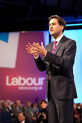 © Licensed to London News Pictures. 02/10/2012. Manchester, UK . Ed Miliband delivers his speech to the Labour Party Conference at Manchester Central . Photo credit : Joel Goodman/LNP