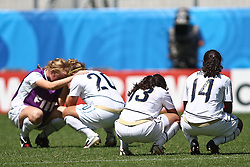 25.07.2010,  Augsburg, GER, FIFA U20 Womens Worldcup, , Viertelfinale, USA vs Nigeria,  im Bild Trauer bei Team USA mit Amber BROOKS (USA #20) Mollie PATHMAN (USA #13) und Meg MORRIS (USA #14)  , EXPA Pictures © 2010, PhotoCredit: EXPA/ nph/ . Straubmeier+++++ ATTENTION - OUT OF GER +++++ / SPORTIDA PHOTO AGENCY
