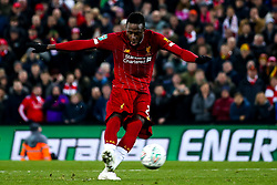 Divock Origi of Liverpool scores his penalty in the shootout against Liverpool in the Carabao Cup- Mandatory by-line: Robbie Stephenson/JMP - 30/10/2019 - FOOTBALL - Anfield - Liverpool, England - Liverpool v Arsenal - Carabao Cup