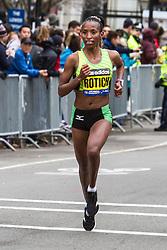 Boston Marathon: female champion Caroline Rotich with less than a mile to go