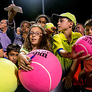 August 25, 2016, New Haven, Connecticut: <br /> Fans wait for autographs during the Men's Legends Event on Day 7 of the 2016 Connecticut Open at the Yale University Tennis Center on Thursday, August  25, 2016 in New Haven, Connecticut. <br /> (Photo by Billie Weiss/Connecticut Open)