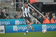 Grant Hanley (Newcastle United) passes infield during the EFL Cup 4th round match between Newcastle United and Preston North End at St. James's Park, Newcastle, England on 25 October 2016. Photo by Mark P Doherty.