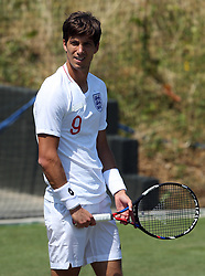 Aljaz Bedene sporting an Harry Kane, England shirt during practice on day two of the Wimbledon Championships at the All England Lawn Tennis and Croquet Club, Wimbledon.