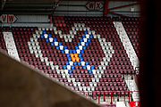 The Hearts logo proudly displayed in the stand ahead of the U21 UEFA EUROPEAN CHAMPIONSHIPS match Scotland vs England at Tynecastle Stadium, Edinburgh, Scotland, Tuesday 16 October 2018.