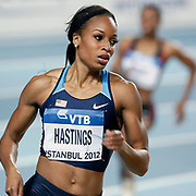 Natasha Hastings of the US looks at the scoreboard after winning heat 1 during the women's 400m semi-final the IAAF World Indoor Championships at the Atakoy Athletics Arena, Istanbul, Turkey. Photo by TURKPIX