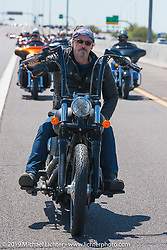 """Tommy Flanagan of Sons of Anarchy leading the 3rd Annual Crusaders for the Children """"Child Empowerment Ride"""" with Sons of Anarchy during Arizona Bike Week 2014. USA. April 6, 2014.  Photography ©2014 Michael Lichter."""