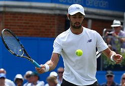 June 22, 2017 - London, United Kingdom - John Thompson (AUS) against Sam Querrey (USA) during Men's Singles Round Two match on the fourth day of the ATP Aegon Championships at the Queen's Club in west London on June 22, 2017  (Credit Image: © Kieran Galvin/NurPhoto via ZUMA Press)