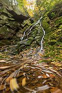 Fallen leaves float in a pool below Little Trap Falls in Gogebic County.<br /> Michigan's Upper Peninsula