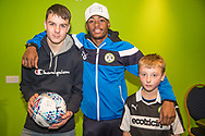 Forest Green Rovers Reece Brown(10) with the match ball sponsors during the The FA Cup match between Forest Green Rovers and Exeter City at the New Lawn, Forest Green, United Kingdom on 2 December 2017. Photo by Shane Healey.