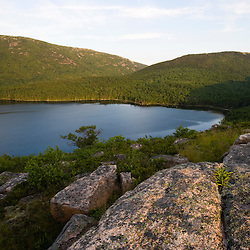 View from the granite summit of Conners Nubble above Eagle Lake in Maine's Acadia National Park.  Cadillac and Pemetic Mountains are across the lake.