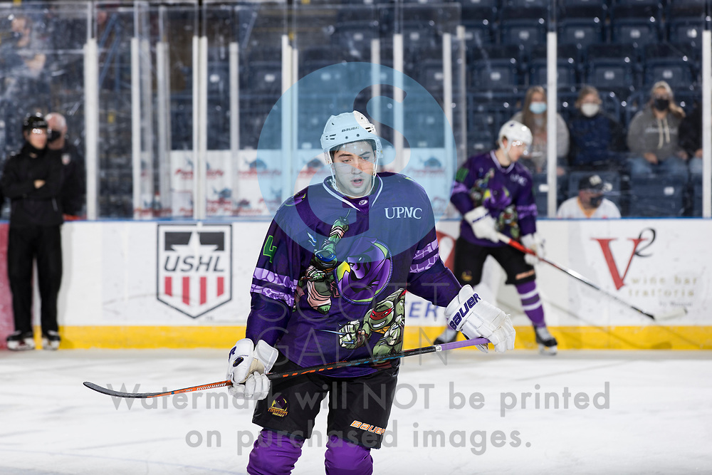 The Youngstown Phantoms defeat the Muskegon Lumberjacks 4-3 in overtime at the Covelli Centre on April 17, 2021.<br /> <br /> Mike Rubin, defenseman, 4