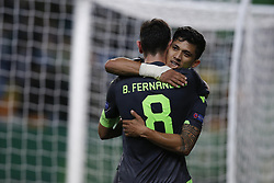 December 13, 2018 - Lisbon, Portugal - Fredy Montero of Sporting (R) celebrates his goal with Bruno Fernandes of Sporting (L)  during UEFA Europa League football match between Sporting CP vs Vorskla, in Lisbon, on December 13, 2018. (Credit Image: © Carlos Palma/NurPhoto via ZUMA Press)